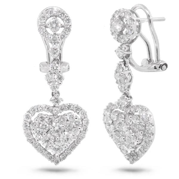 2.37ct 18k White Gold Diamond Heart Earrings