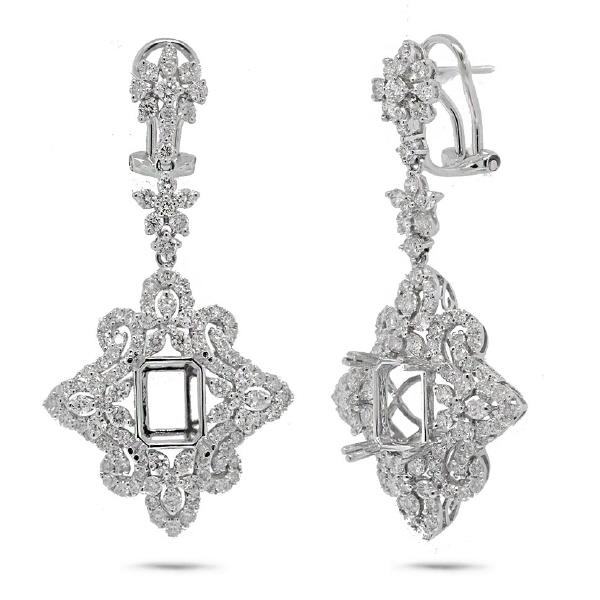 3.78ct 18k White Gold Diamond Semi-mount Earrings
