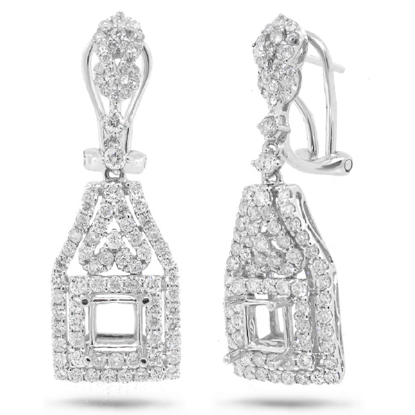 1.81ct 18k White Gold Diamond Semi-mount Earrings