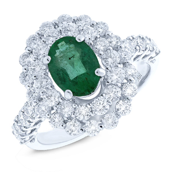 1.61ct Diamond & 1.18ct Emerald 18k White Gold Ring