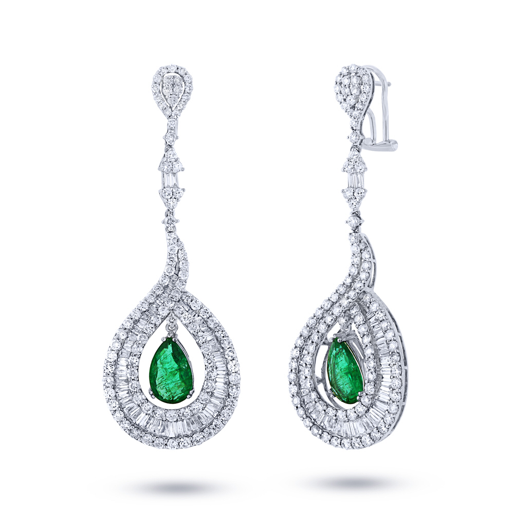 6.86ct Diamond & 3.54ct Emerald 18k White Gold Gia Certified Earrings