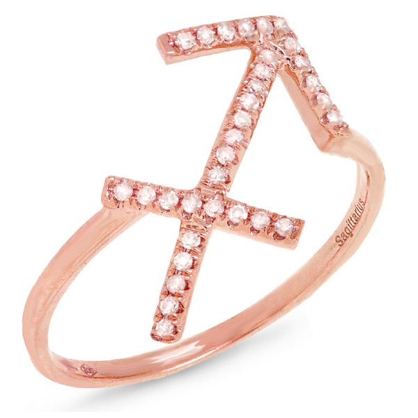0.13ct 14k Rose Gold Diamond Zodiac Sagittarius Ring