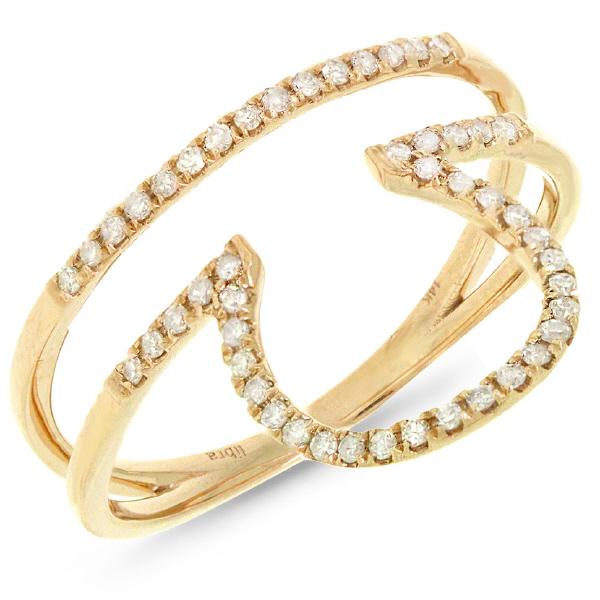 0.19ct 14k Yellow Gold Diamond Zodiac Libra Ring