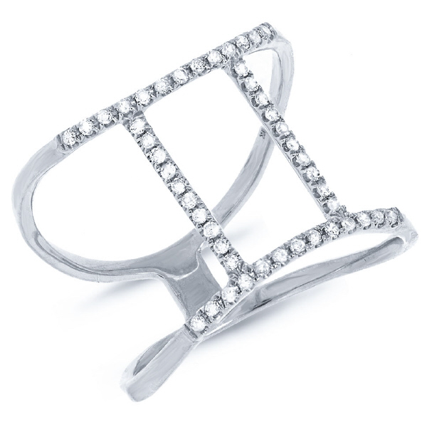 0.18ct 14k White Gold Diamond Zodiac Gemini Ring