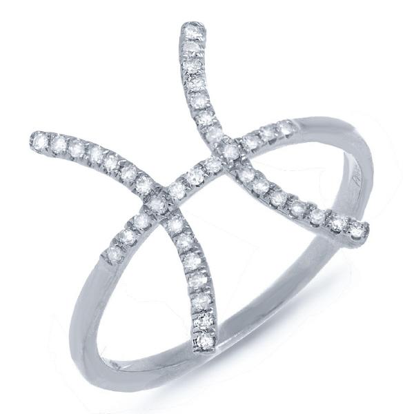 0.16ct 14k White Gold Diamond Zodiac Pisces Ring