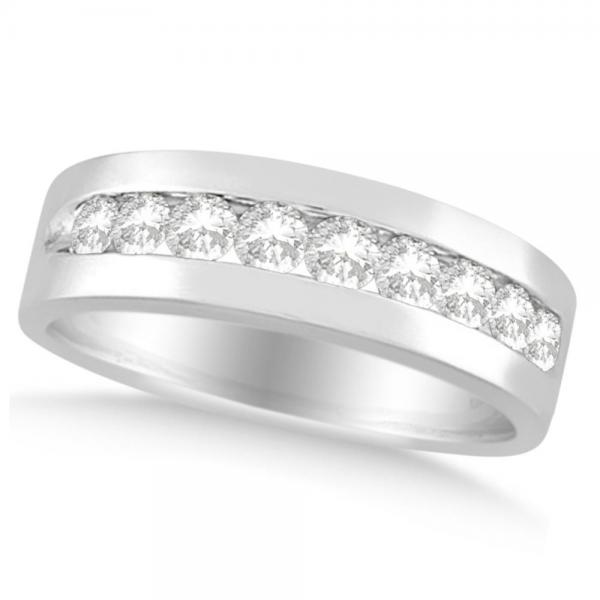Nine Stone Round Channel Set Diamond Men's Band in Platinum (1.00ct)