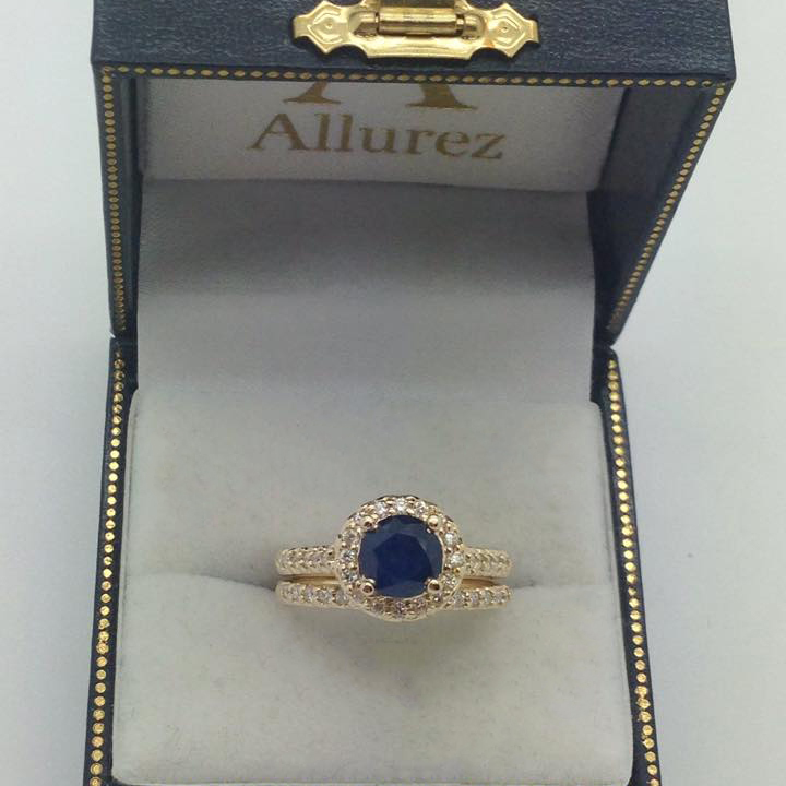 Halo Diamond Accented Blue Sapphire Ring 14k Yellow Gold (2.00ctw)