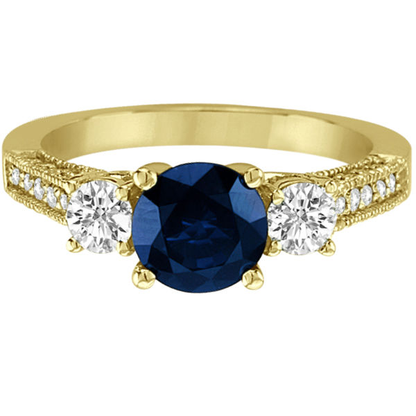 Vintage Milgrain Diamond and Blue Sapphire Ring 14k Yellow Gold (2.32ct)