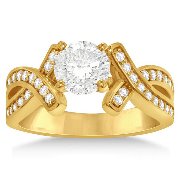 Intertwined Diamond Engagement Ring Setting 14K Yellow Gold 0.36ct