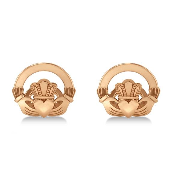 Irish Claddagh Cufflinks Plain Metal 14k Rose Gold