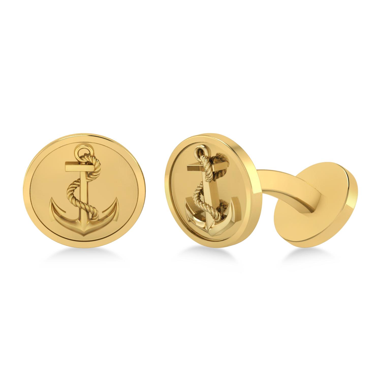 Men's Nautical Anchor Cufflinks 14k Yellow Gold