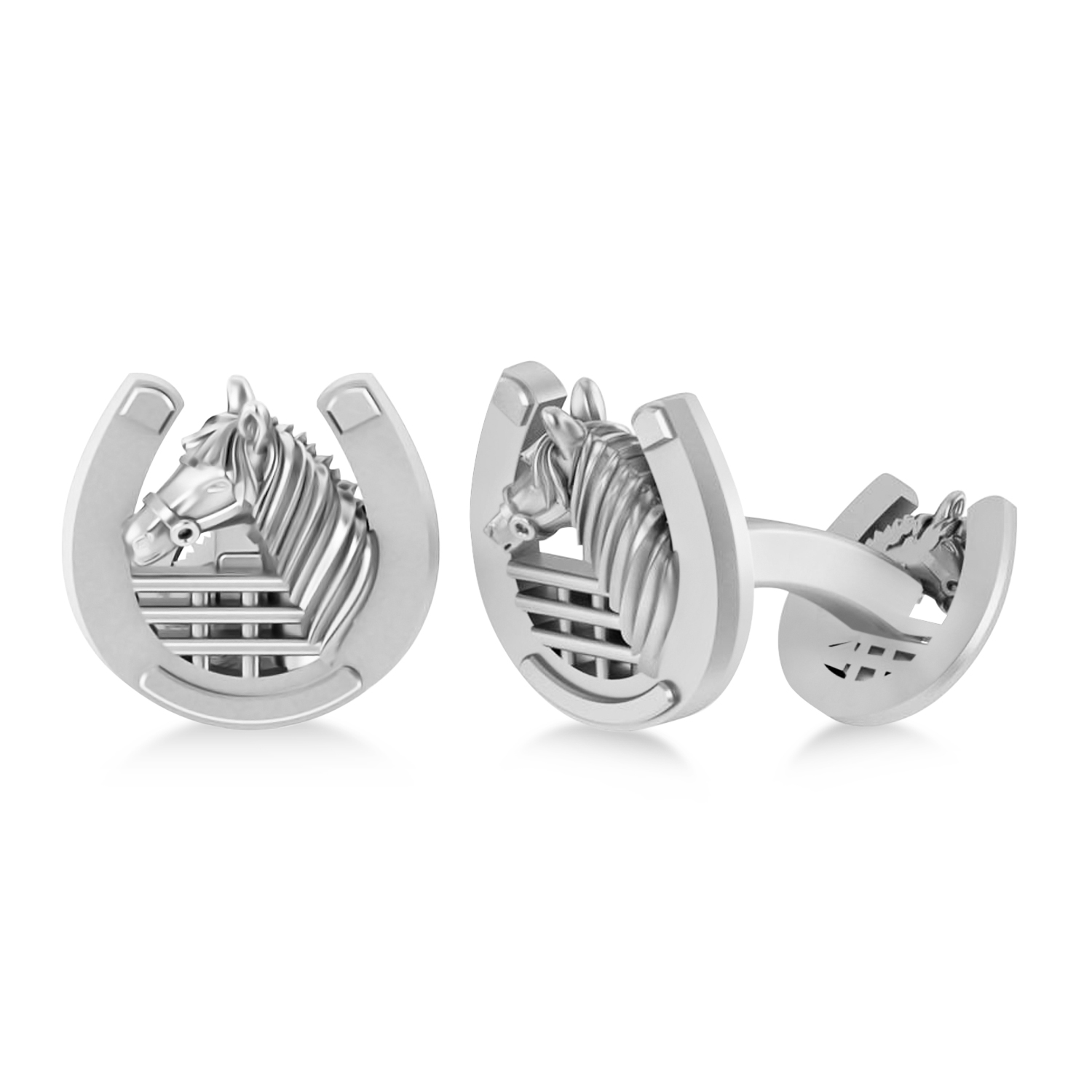 Men's Stallion Horseshoe Cufflinks 14k White Gold