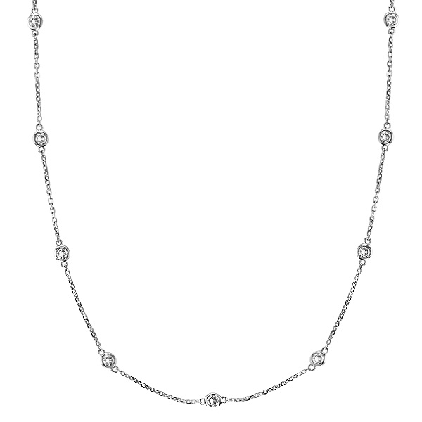 Custom-Made Diamond Station Necklace Bezel-Set in 14k White Gold (2.00ctw) (8 station necklace with larger clasp)