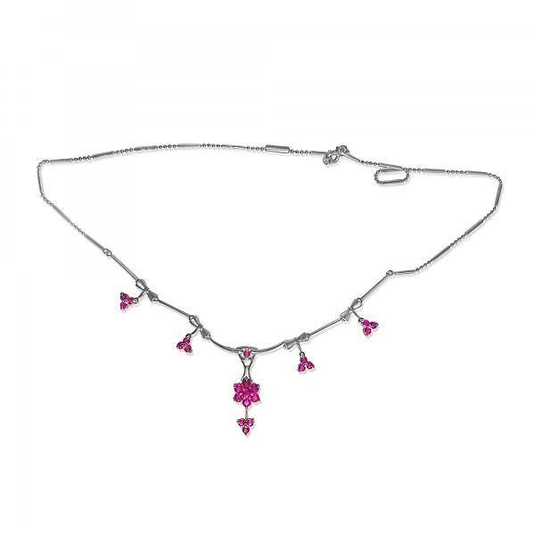 Ruby Chain Necklace in 14k White Gold (2.01ct)