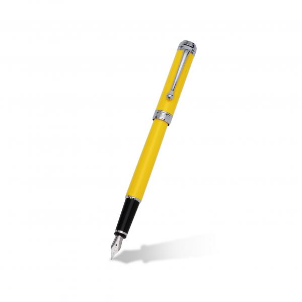Aurora Talentum Finesse Yellow Fountain Pen with 14k White Gold Tip
