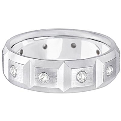 Mens Satin Finish Diamond Wedding Ring Band 14k White Gold (0.50ct)