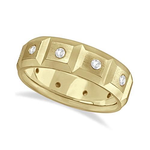 Mens Satin Finish Diamond Wedding Ring Band 18k Yellow Gold (0.50ct)