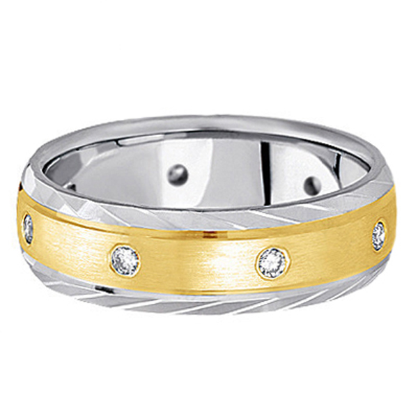 Men's Burnish-Set Diamond Wedding Band in Two Tone 14k Gold (0.4 ctw)