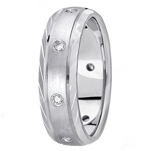 Men's Burnish-Set Diamond Wedding Band in 14k White Gold (0.4 ctw)