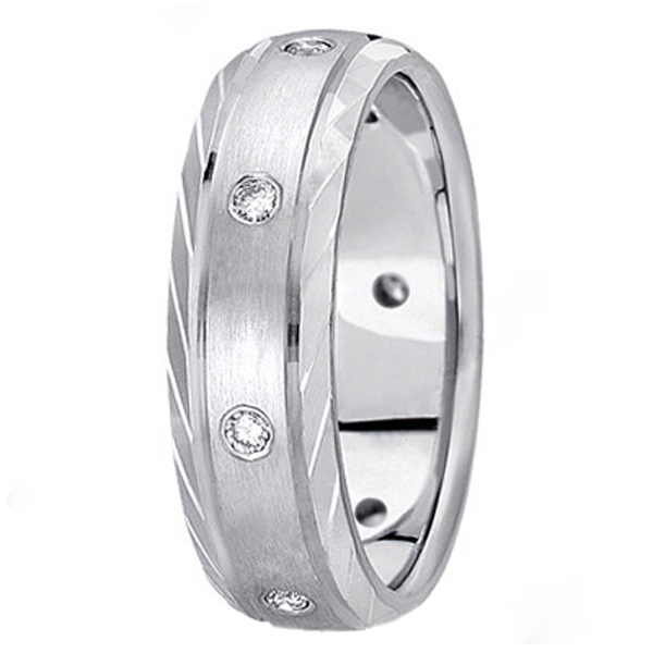 Men's Burnish-Set Diamond Wedding Band in Platinum (0.4 ctw)