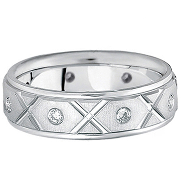 Men's Burnished Diamond Wedding Band in 14k White Gold (0.40ct)