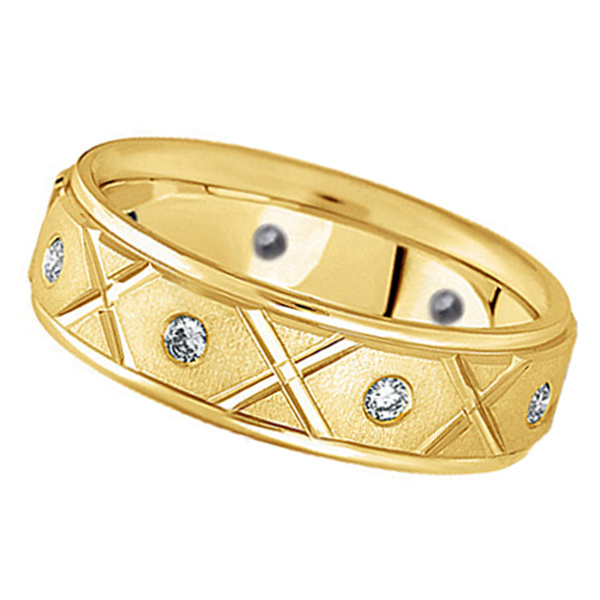 Men's Burnished Diamond Wedding Band in 14k Yellow Gold (0.40ct)
