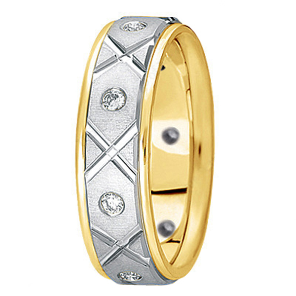 Men's Burnished Diamond Wedding Band in Two Tone 14k Gold (0.40ct)