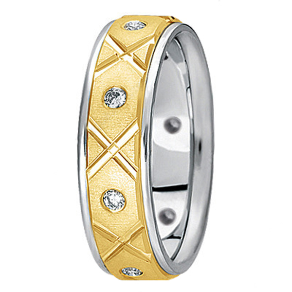 Men's Burnished Diamond Wedding Band in Two Tone 18k Gold (0.40ct)