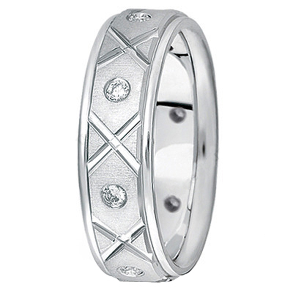 Men's Burnished Diamond Wedding Band in 18k White Gold (0.40ct)