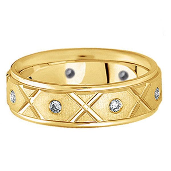 Men's Burnished Diamond Wedding Band in 18k Yellow Gold (0.40ct)