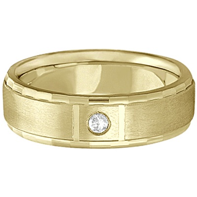 Mens Diamond Solitaire Wedding Ring Band 14k Yellow Gold (0.10ct)