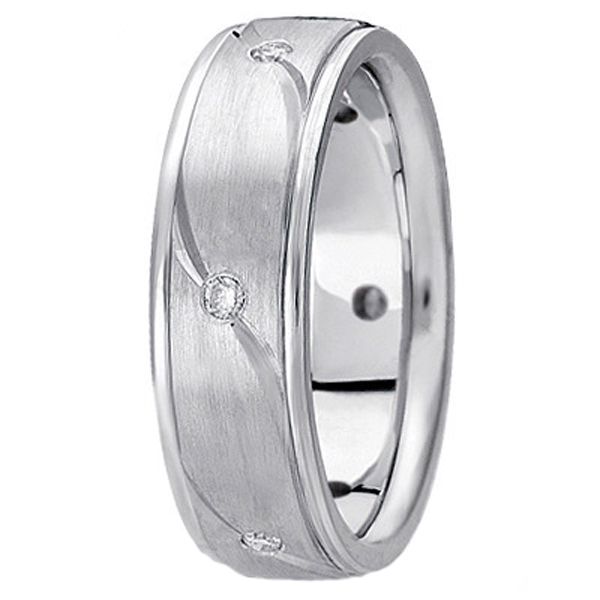 Men's Burnished Diamond Wedding Ring in 18k White Gold (0.18 ctw)