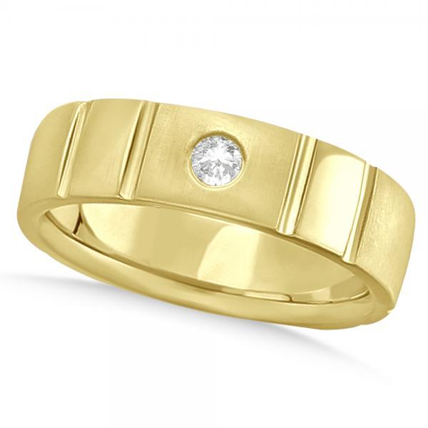 Men's Diamond Solitaire Wedding Ring Band 14k Yellow Gold 7mm (0.12ct)