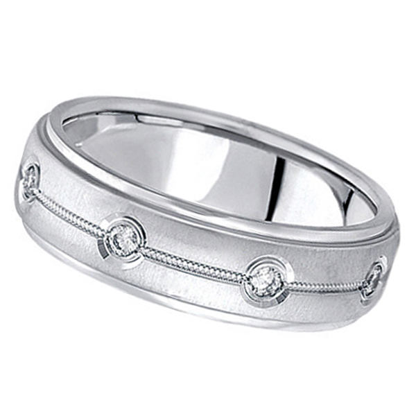 Diamond Wedding Ring in Platinum for Men (0.40 ctw)