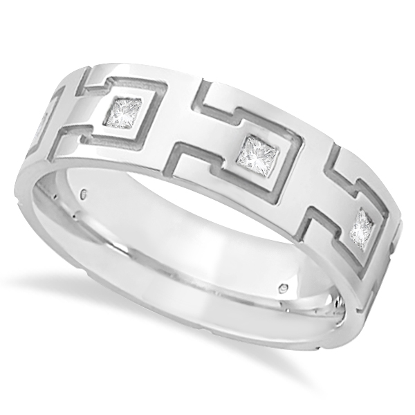 Princess Cut Eternity Diamond Ring for Men 14k White Gold (0.50ct)