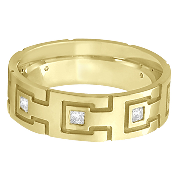 Princess Cut Eternity Diamond Ring for Men 18k Yellow Gold (0.50ct)