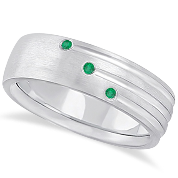 Mens Shooting Star Emerald Wedding Ring Band 14k White Gold (0.15ct)