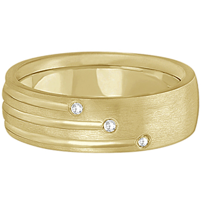 Mens Shooting Star Diamond Wedding Ring Band 14k Yellow Gold (0.15ct)