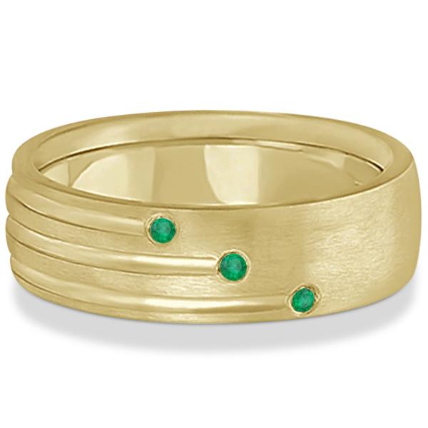 Mens Shooting Star Emerald Wedding Ring Band 14k Yellow Gold (0.15ct)