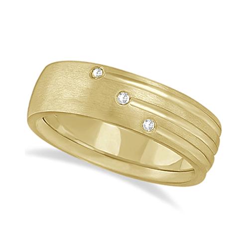 Mens Shooting Star Diamond Wedding Ring Band 18k Yellow Gold (0.15ct)