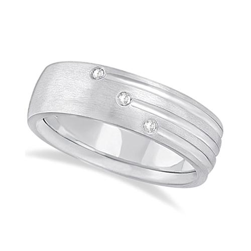 Mens Shooting Star Diamond Wedding Ring Band Palladium (0.15ct)