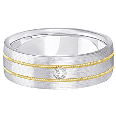 Mens Milgrain Engraved Diamond Wedding Band Ring 18k Two-Tone (0.05ct)