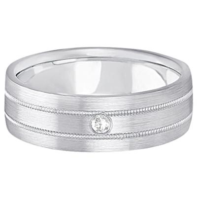 Mens Milgrain Engraved Diamond Wedding Band Ring 18k White Gold (0.05ct)