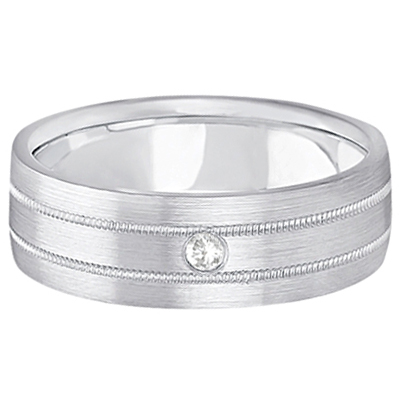 Mens Milgrain Engraved Diamond Wedding Band Ring Palladium (0.05ct)