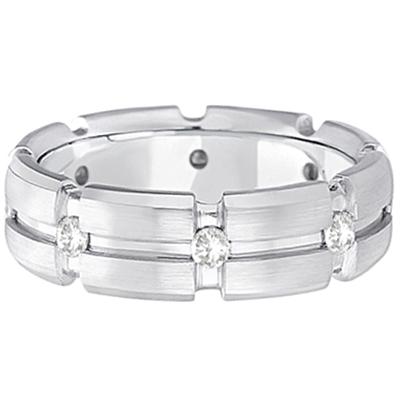 Mens Burnish Diamond Wedding Ring Groove Band 14k White Gold (0.50ct)