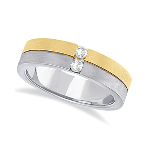 Mens Channel Diamond Wedding Ring Groove Band 14k Two-Tone Gold (0.15ct)