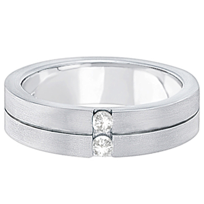 Mens Two-Stone Diamond Wedding Ring Band 14k White Gold (0.15ct)