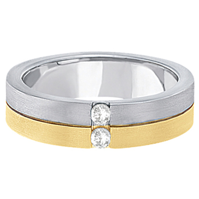 Mens Channel Diamond Wedding Ring Groove Band 18k Two-Tone Gold (0.15ct)