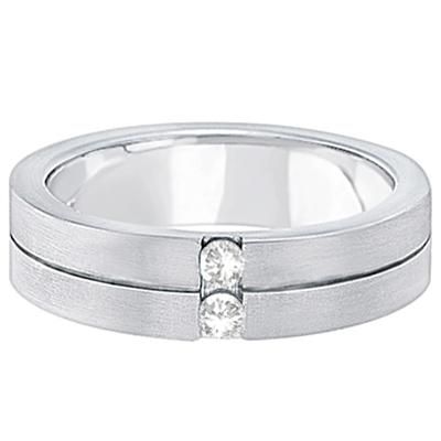 Mens Two-Stone Diamond Wedding Ring Band 18k White Gold (0.15ct)