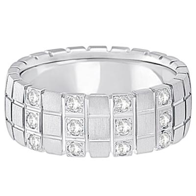 Mens Square Groove Diamond Wedding Ring Band Palladium (0.25ct)